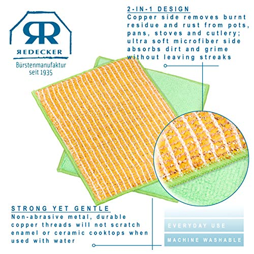 REDECKER Dual Sided Copper and Microfiber Cleaning Cloth, Set of 5, 7-3/4'' x 6'', Non-Abrasive Copper Effectively Scrubs, Absorbent Microfiber Wipes Surfaces Clean, Machine Washable, Made in Germany by REDECKER (Image #6)