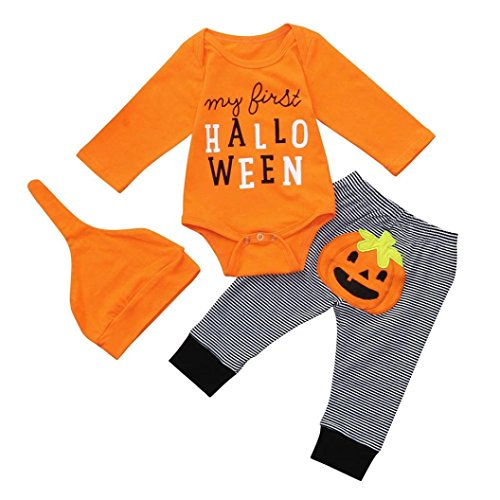 Newborn Halloween Sets,Jchen(TM) New Style! Toddler Infant Baby Boys Girls Letter Print Romper+Pumkin Striped Pants Hat Outfits for 0-12 Months (Age: 0-3 Months)]()