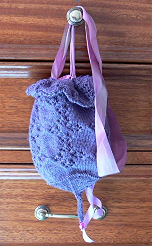 The Lavender Seller's Bag: Magickal, secret pixie knitted pouch in woodland Iris wool, dangling with silk tendrils. Knit me now.