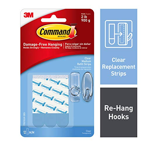 Command Medium Clear Refill Strips, 12 strips, Re-Hang Indoor Clear Hooks (17021CLR-12ES)