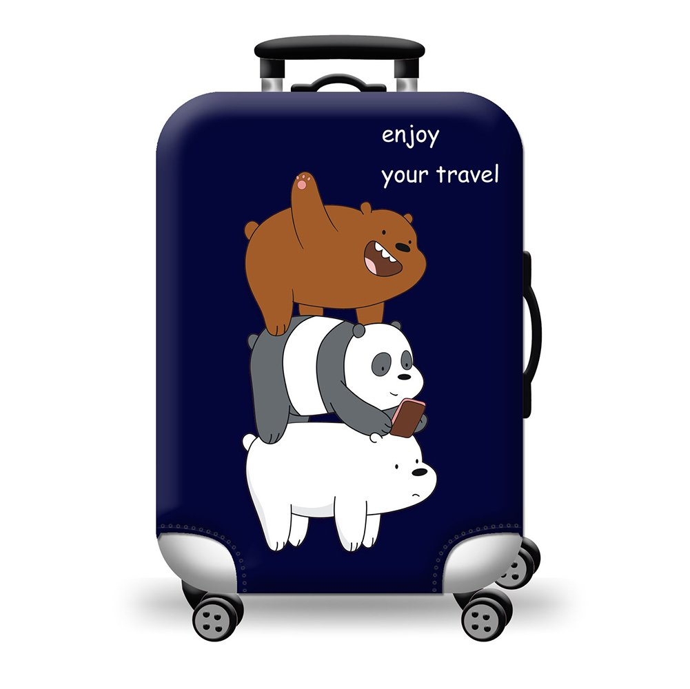 Quner Luggage Case Bag Cover Luggage Elastic Luggage Covered Cute Animal Grey Bear Printed Suitcase Cover Protector Luggage Case