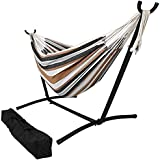 Hammock with Stand, 2 Person, Portable Hammock Bed for Indoor or Outdoor Use, with Carrying Pouch, Max Weight: 440 Pounds, Desert Colors - Brazilian Double