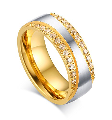 Mealguet Jewelry 7mm Stainless Steel Gold Plated Two-Tone Promise Rings for Couples, Wedding Bands for Men and Women