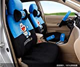1 Sets lovely cartoon comfotable Universal Car five Seat covers Car Steering Wheel Cover women car seat cushion (sapphire black)