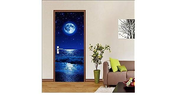 Adhesivos Decorativos para Puertas, Luna Azul Saliendo del Mar Azul,Adhesivos De Bricolaje, Adhesivos para Puertas 3D: Amazon.es: Hogar