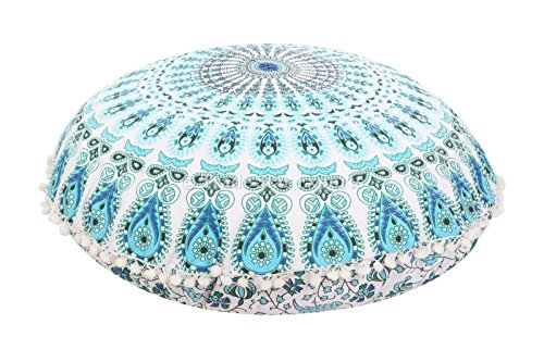 Large 32'' Round Pillow Cover, Decorative Mandala Pillow Sham, Indian Bohemian Ottoman Poufs, Pom Pom Pillow Cases, Outdoor Cushion Cover (Pattern 5) by Trade Star Exports