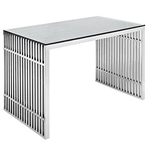 Office Steel Writing Desk (Modway Gridiron Stainless Steel Office Desk in Silver)