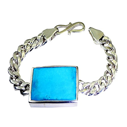 Natural Turquoise Bracelet December Birthstone Square Cabochon Link Style 925 Silver Length 6.5-8 Inches by 55Carat