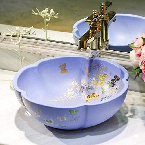 手作りバスルームのシンクの洗面アート洗面セラミックカウンタートップ洗面船ボウル花の形