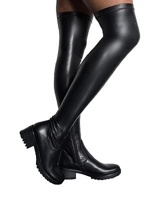 d322cb4de AZALEA WANG Faux Leather Stretch Thigh High Chunky Lug Sole Flat Combat  Boots-BLACK PU_7