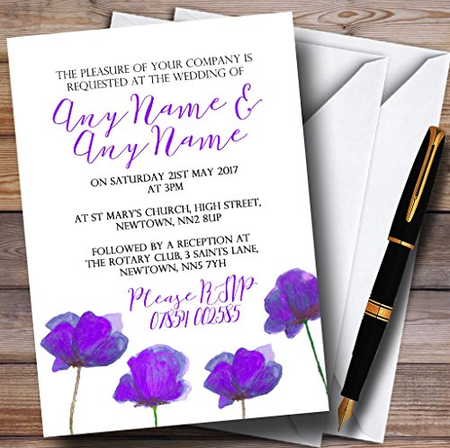 Poppy Wedding Invitation - Stunning Watercolour Poppies Purple Personalized Wedding Invitations