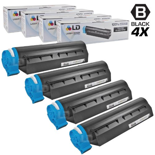 LD © Set of 4 Okidata Compatible 44574701 Black Laser Toner Cartridge for the MB461 MFP, MB471, MB471W, B411d, B411dn, B431d and B431dn Printers