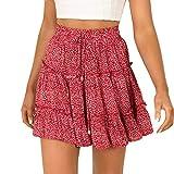 2019 Fashion Women Summer Casual High Waist Ruffled Floral Print Beach Short Skirt (Red, L)