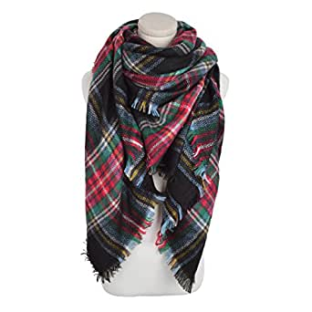 Premium Winter Large Knit Plaid Checked Square Blanket Scarf Shawl Wrap, Black