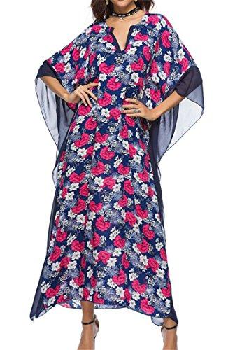 Manches Batwing Femmes Domple V Cou Imprimé Plage Lâche Longue Robe Maxi 3