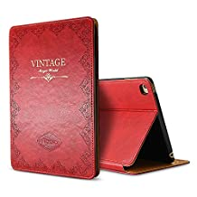 iPad Air 2 Case Cover,Modern Vintage Book Style Case for Ipad Air 2,Premium PU Leather Smart Case Auto Sleep Wake Slim Fit Multi Angle Stand,Red
