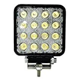 48W Square Led Work Lights 6000K Waterproof Led Light 12v 4.3Inch Off-road Driving Lights Truck Fog Light 7200LM(2×3600) Automotive Flood Light for4X4UTV,Jeep,Cabin,Boat,Ship,SUV,ATV,Deck,Mining,1pc