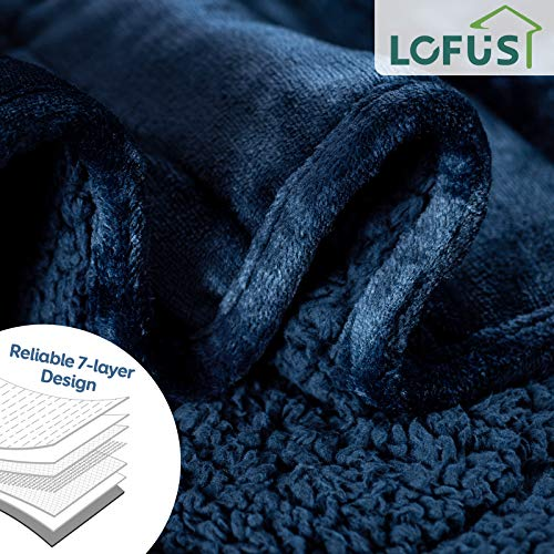 Lofus Sherpa Fleece Weighted Blanket 15 lbs Heavy Blanket with Soft Plush Flannel Reversible Full-Size Super Soft Extra Warm Cozy Fluffy Blanket 60 x 80 inches for Adult Bed Couch, Navy Blue