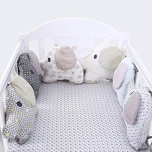 Cotton Baby Crib Bumpers Elephant Crib Bumper Pad Breathable Padded Mesh Cradle Bedding Bumper