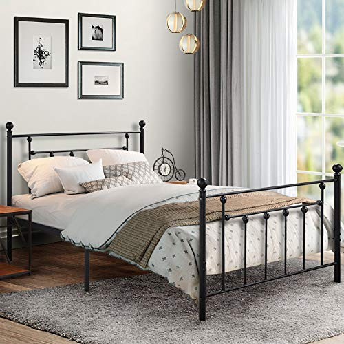 (Premium Full Size Bed Frame, VECELO Metal Platform Mattress Foundation / Box Spring Replacement with Headboard Victorian Style)
