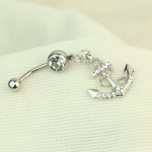 Rétro Argent Belly Button Anneau de Nombril de Bijoux de Piercing en Cristal
