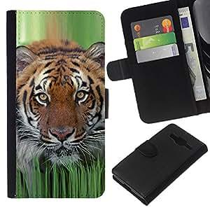 Planetar® Modelo colorido cuero carpeta tirón caso cubierta piel Holster Funda protección Para Samsung Galaxy Core Prime ( Tiger hierba de la primavera de la naturaleza animal de caza )