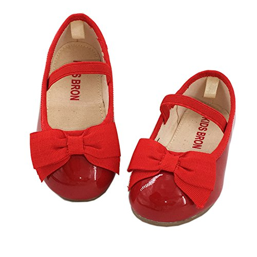 KIDS BRON Bridal Black/Red Ballet Flats Mary Jane School Shoes (Toddler/Little Girls (5 M US Toddler, G02 Red) (Shoes Mary Jane Red)