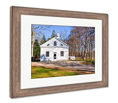 Ashley Framed Prints Early 19th Century Church, Wall Art Home Decoration, Color, 30x35 (Frame Size), Rustic Barn Wood Frame, AG6440869