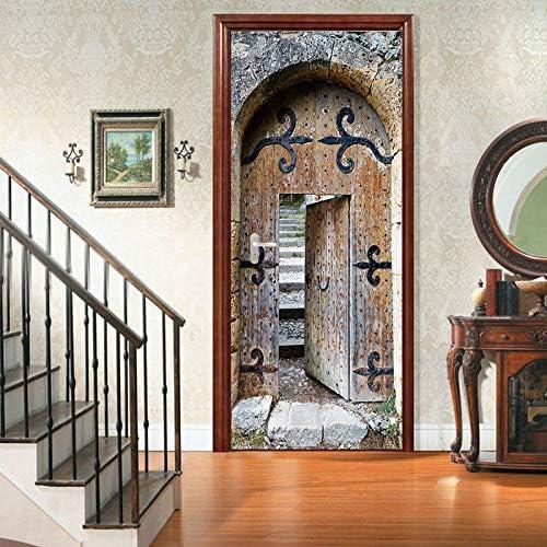 DENG@SH Adhesivos de Puertas en 3D,Personalidad. Puerta Vintage Puerta Interior Renovación la Puerta de la Habitación Pegatina Casa Bricolaje Se Puede Quitar Repetir Cuarto de Los Niños: Amazon.es: Bricolaje y herramientas