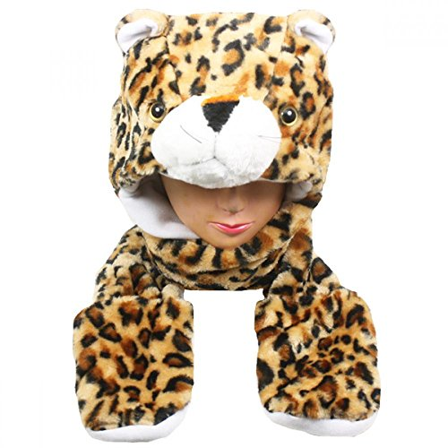 [Leopard_(US Seller)Plush animal hats with mittens Cap Earmuff Long] (Hobbes Costumes For Sale)