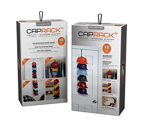 Perfect Curve Cap Rack System - Baseball Cap Organizer, Holds 18 Caps, Black