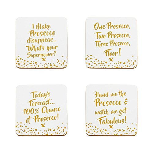 The Leonardo Collection LP40084 Prosecco Coaster Set with Message, White