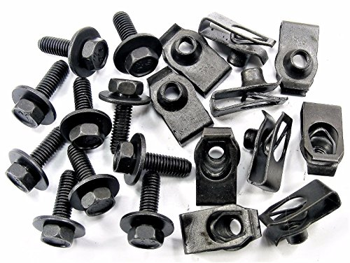 Retro-Motive for Jeep Body Bolts & U-nut Clips- M6-1.0 x 20mm Long- 10mm Hex- 20 pcs- - 20mm Wide Body