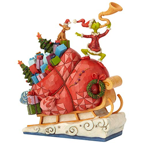 Enesco Dr. Seuss The Grinch by Jim Shore Sleigh Figurine, 9.13 , Multicolor