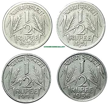 GENUINE COINS GALLERY Indian Coins.1950 to 1956 Years 4 Coins