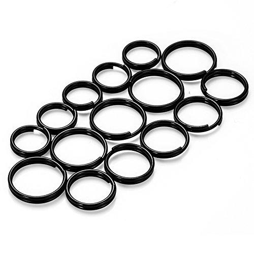 NUBARKO 15 Pcs Titanium Split Key Ring for Connecting Necklaces, Tags, Keys, Earrings, Jewelry and Small Pendants (Black, 5 pcs 0.39, 5 pcs 0.47, 5 pcs0.55)