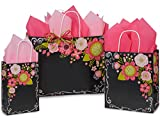 Pack Of 125, Assortment Chalkboard Flowers Shopping Bag 50 Rose (5-1/2'' X 3-1/4'' X 8-3/8''), 50 Cub (8'' X 4-3/4'' X 10-1/4''), 25 Vogue (16'' X 6'' X 12'')