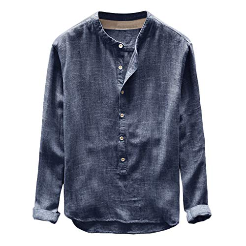 Cotton Linen Shirt Men Mens Long Sleeve Henley Shirt Cotton Linen Beach Yoga Loose Fit Henleys Tops Navy