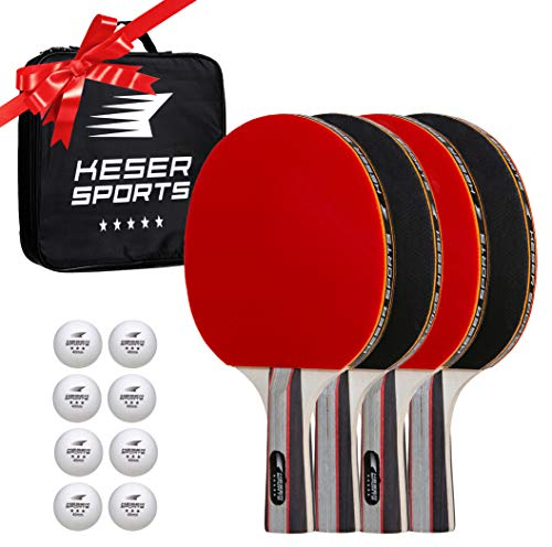 Keser Sports 5-Star Ping Pong Paddle Set - 4 Player Racket Set Bundle with 8 Professional ABS Balls and Portable Storage Bag Included. Advanced Spin, Speed and Control for Indoor/Outdoor Table Tennis
