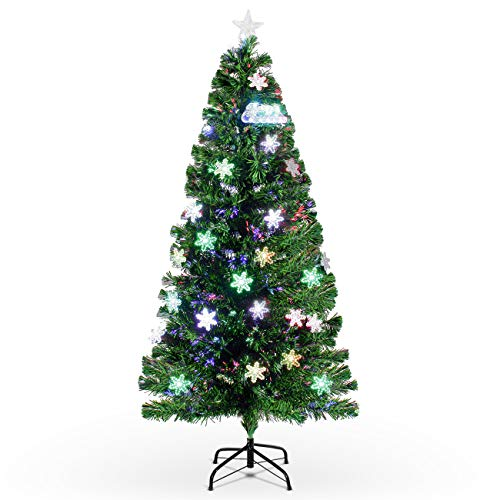 Belleze 6-feet Pre-Lit Fiber Optic Artificial Premium Christmas Tree Multicolor Led Lights & Snowflakes with ()