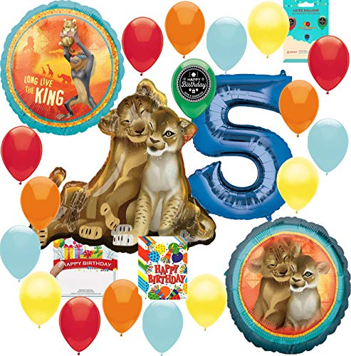 Lion King Party Supplies 5th Birthday Balloon Decoration Supply Bundle with Happy Birthday Card and 8 Treat Bags -