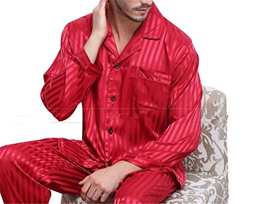 Sonjer Mens Silk Satin Pajamas Set Pajama Pyjamas Set Pjs Sleepwear Set Loungewear U.S.S,M,L,Xl,2Xl,3Xll,4Xl Plus Striped Red L - New Mens Silk Satin Pajama