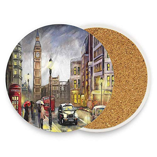 HappyToiletLidCoverX London Street Artwork Big Ben Red Umbrella Bus European City Coaster for Drinks,Wallpaper Ceramic Round Cork Table Cup Mat Coaster Pack Of 1