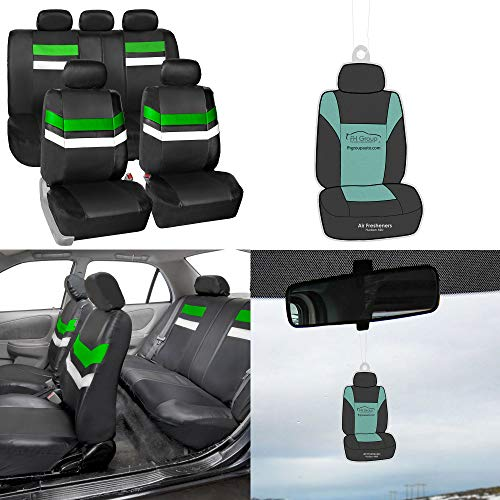 FH Group Year END Sale PU006115 Varsity Spirit PU Leather Seat Covers, Airbag & Split Ready, Green/Black Color (1998 Jeep Grand Cherokee Limited For Sale)