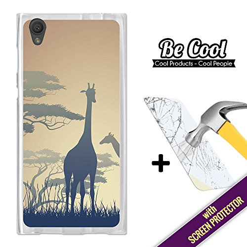 Becool- Cover Gel Flexible Sony Xperia L1, [+1 Tempered Glass Screen Protector ], TPU Case made out of Silicone, protects to your Smartphone, with our exclusive designs. Giraffe Silhouette. - Exclusive Giraffe