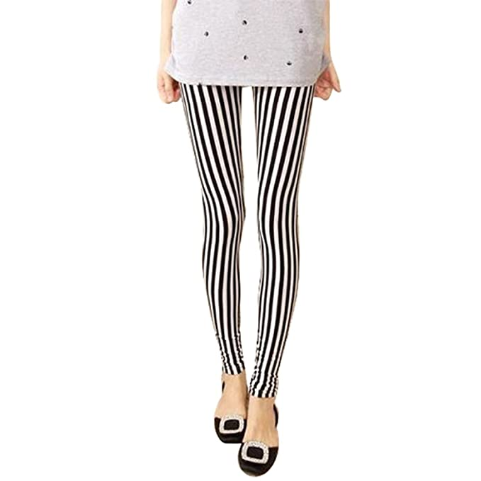 Amazon.com: Polytree - Pantalones leggings de rayas ...