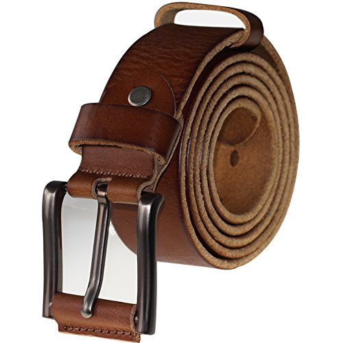 PAZARO Men's Super Soft Top Grain 100% Leather Belt Tan Color (Tops Soft 36)