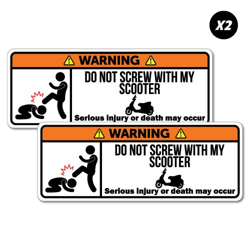 2x Warning Scooter Motorcycle Motorbike Sticker Funny Car Stickers Novelty Decals