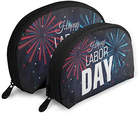 Makeup Bag Happy Labor Day American Flag Firework Portable Shell Makeup Case For Women Thanksgiving Day Gift Pack - 2