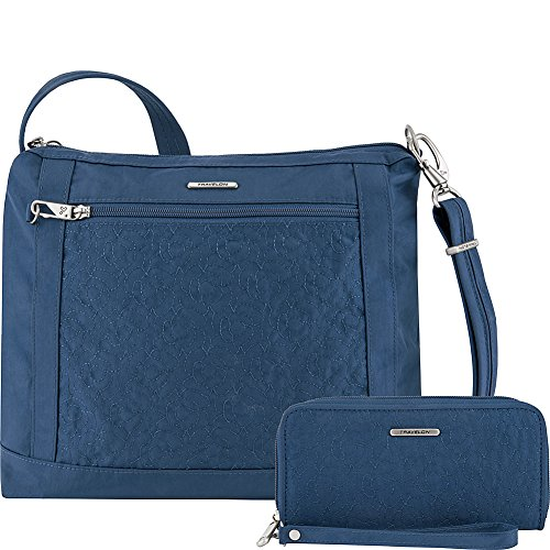 Travelon Anti-Theft Square Crossbody and Wallet Set - Medium RFID Lined Handbag for Travel & Everyday - (Ocean/Teal Interior)